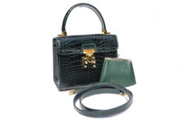 HELENE 1990's Dark Green CROCODILE Belly Skin Handbag or Shoulder Bag
