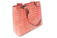 AMPLE 14 x 10 Early 2000's PINK CROCODILE Caiman Belly Skin Shoulder Bag TOTE - SAUPHO