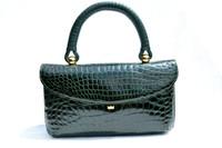 FOREST GREEN 1990's Alligator Belly Skin Handbag - CONTESSA ANNA - ITALY