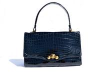 Rare Vintage JANE BRAK 1950's-60's NAVY BLUE CROCODILE POROSUS Handbag - HERMES Quality - Paris