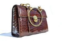 Lunchbox Style 1950's-60's PEDRO MAYORGA Crocodile Belly Skin Handbag w/Lock & Key!