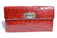 "XL 14"" RED 1940's-50's CROCODILE Skin CLUTCH - Argentina"