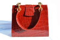 RED 1960's CROCODILE Skin Purse Shoulder Bag - England