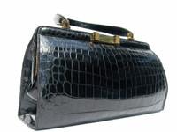 COBLENTZ 1950's-60's FRENCH Jet Black Alligator Handbag