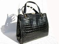 FINESSE 1950's-60's Jet Black ALLIGATOR Belly Skin Handbag
