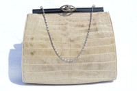 Rare 1950's-60's LUCILLE de PARIS Taupe Alligator Evening Bag