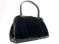 "Large 14"" 1950s-60's BLACK ALLIGATOR Skin SATCHEL - VASSAR!"