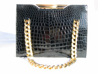 KORET 1950's-60's Jet BLACK Crocodile Porosus Skin Handbag