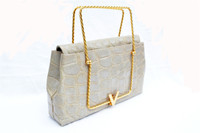 RARE 1980's SACHA Pearl Alligator Skin CLUTCH Handbag - FRANCE