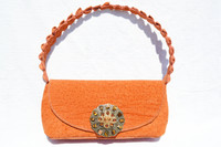 ROCKSTAR Jeweled Orange CROCODILE TAIL & SHARK Skin Shoulder Bag