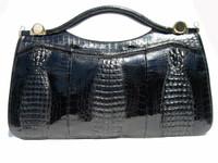 "Stunning BLACK 16"" 1980's TRIPLE HORNBACK Crocodile Skin B - J. PEREZ"