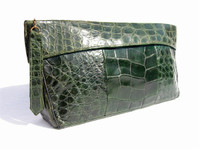 1940's-50's Large GREEN Alligator Skin CLUTCH Bag