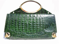 XXL EMERALD GREEN 1980's-90's CROCODILE Clutch SHOULDER Bag!