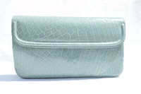 MAXIMA 1990's BABY BLUE Alligator Belly Skin Clutch Bag - Handmade in Italy