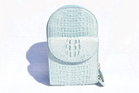 Eileen Kramer 1990's Baby Blue Hornback CROCODILE Crossbody Bag