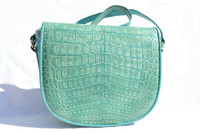 TURQUOISE 1980's Crocodile Belly Skin Shoulder Bag - Brenda's!