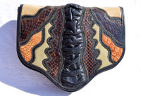 Stunning 1970's Karung Cobra Snake Skin & Anteater Skin CLUTCH Shoulder Bag - Vasilis for TROTTING