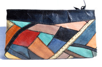 Colorful 1970's-80's Patchwork COBRA & Python Snake Skin Clutch