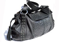 XL 2000's Black OSTRICH SKIN Shoulder Bag - NINA RAYE!