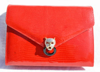 FRED HAYMAN 1990's RED Lizard Skin CLUTCH Shoulder Bag - Jeweled JAGUAR
