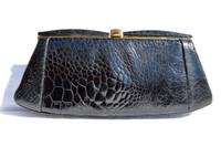 LESCO 1950's-60's BLACK EXOTIC TURTLE SKIN Clutch Bag