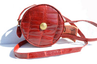 RED 1990's-2000's MAXIMA - MATTEO & MASSIMO ALLIGATOR Skin Crossbody Canteen Shoulder Bag - Tag!