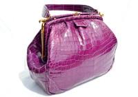 Rare 1980's-90's PURPLE CROCODILE Porosus Belly Skin Handbag - HATTIE