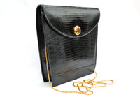 Sleek BLACK 1980's-1990's Lizard Skin Crossbody Shoulder Bag - ARGENTINA