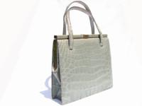 Rare PALE GREEN 1950's-60's LUCILLE De PARIS Alligator Skin Bag