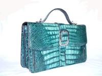 EMERALD GREEN 1980's-90's CROCODILE Bag w/Silver & Strap