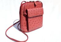 RED 1990's-2000's Ostrich Skin Cross Body Shoulder Bag