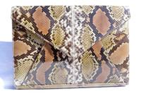 Lovely 1980's-90's  Python Snake Skin Envelope Clutch Shoulder Bag - Olive, Tan and Cream