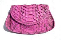 CARLOS FALCHI 1990's-200's Magenta Purple Python Snake Skin Clutch Shoulder Cross BodyBag