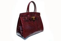 XXL HERMES BIRKIN Style Burgundy RED CROCODILE Belly Skin Handbag SATCHEL - VASADINA