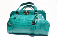 XXL Early 2000's DARK TURQUOISE Crocodile Belly Skin Handbag Shoulder Bag