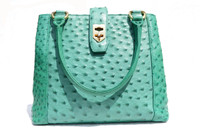 TURQUOISE Green 1990's-2000's Ostrich Skin Handbag Shoulder Bag
