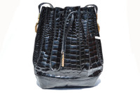 Stunning BLACK 1980's-1990's CROCODILE Belly Skin Drawstring Shoulder Bag  Tote