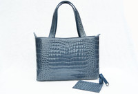 1990's-2000's DENIM BLUE Crocodile Belly Skin Tote Satchel Bag