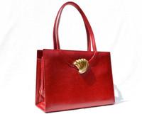 MARTIN VAN SCHAAK 1950's-60's RED Karung Snake Skin Handbag - SHELL