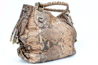 HUGE Early 2000's Natural PYTHON Snake Skin SATCHEL Handbag