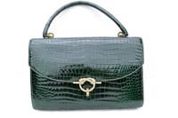 Vintage 1950's-60's HERMES Sac Cordeliere CROCODILE POROSUS Handbag - FOREST GREEN