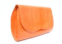 ORANGE 1980's-90's COBRA Snake Skin CLUTCH Shoulder Bag