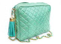 SEA FOAM Green Chanel-Style 1980's-90's Quilted Snake Skin TOTE Shoulder Bag - Mr. Jay