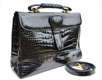 Stunning XL 1990's-2000's Jet Black ALLIGATOR Belly Skin Shoulder Bag Handbag SATCHEL -Maxima - Titti Del'Aqua - ITALY