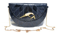 NAVY BLUE Stephanie Wood 1970's-80's Patchwork SNAKE Skin Clutch Shoulder Cross Body Bag - Jeweled DOLPHIN!