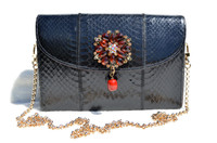 Jeweled Jet BLACK 1980's PALIZZIO Cobra SNAKE Skin Clutch Shoulder Cross Body Bag
