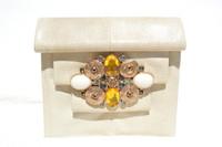 Jeweled PALE OLIVE 1980's-90's Karung SNAKE Skin Clutch Shoulder Cross Body Bag - SUSAN GAIL