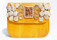 Embellished Mustard YELLOW 1980's-90's Cobra SNAKE Skin & Alligator Tail Skin Clutch Shoulder Bag