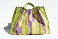 Geometric Purple, Green & Yellow 1990's COBRA Snake Skin Tote Bag Satchel - TOSCA BLU