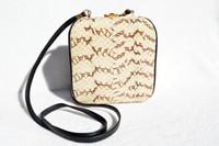 Cream & Black 1980's-1990's Cobra Snake Skin Crossbody Shoulder Bag - COMECO